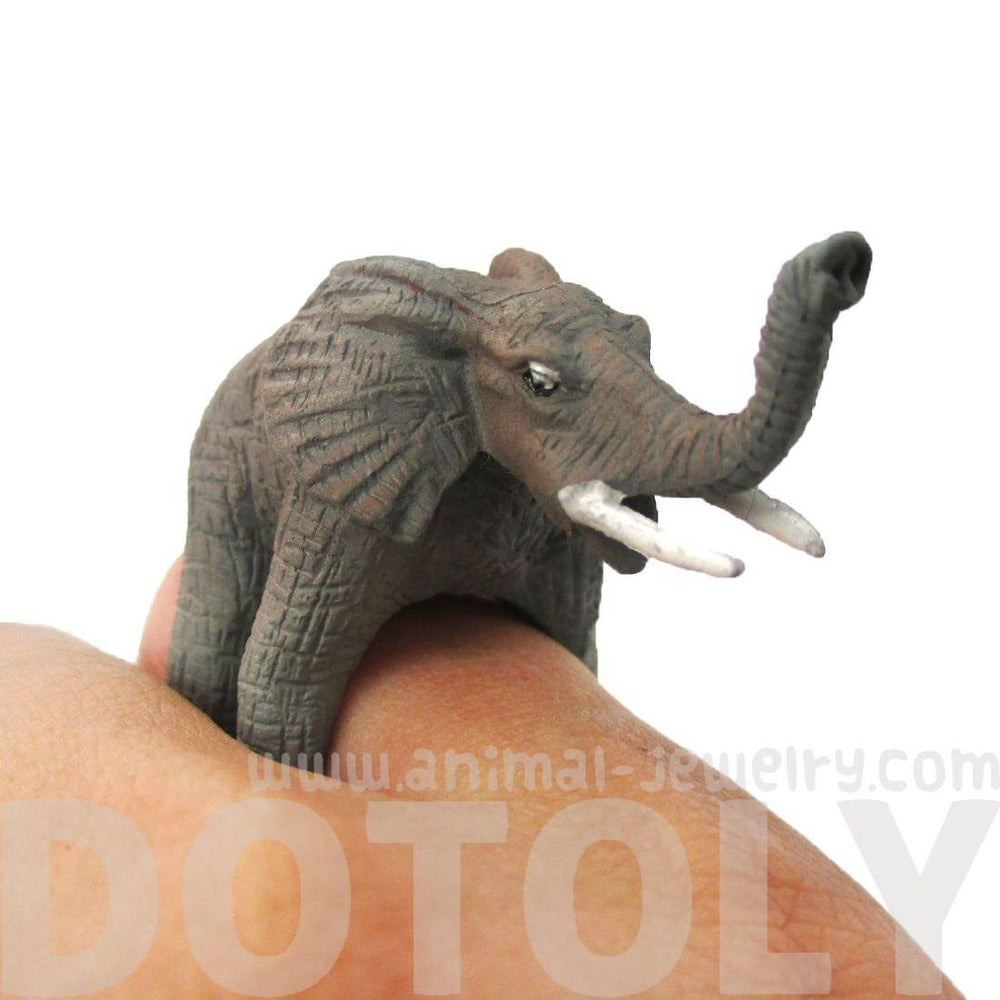 3D Realistic Elephant Figurine Shaped Animal Wrap Around Ring for Kids