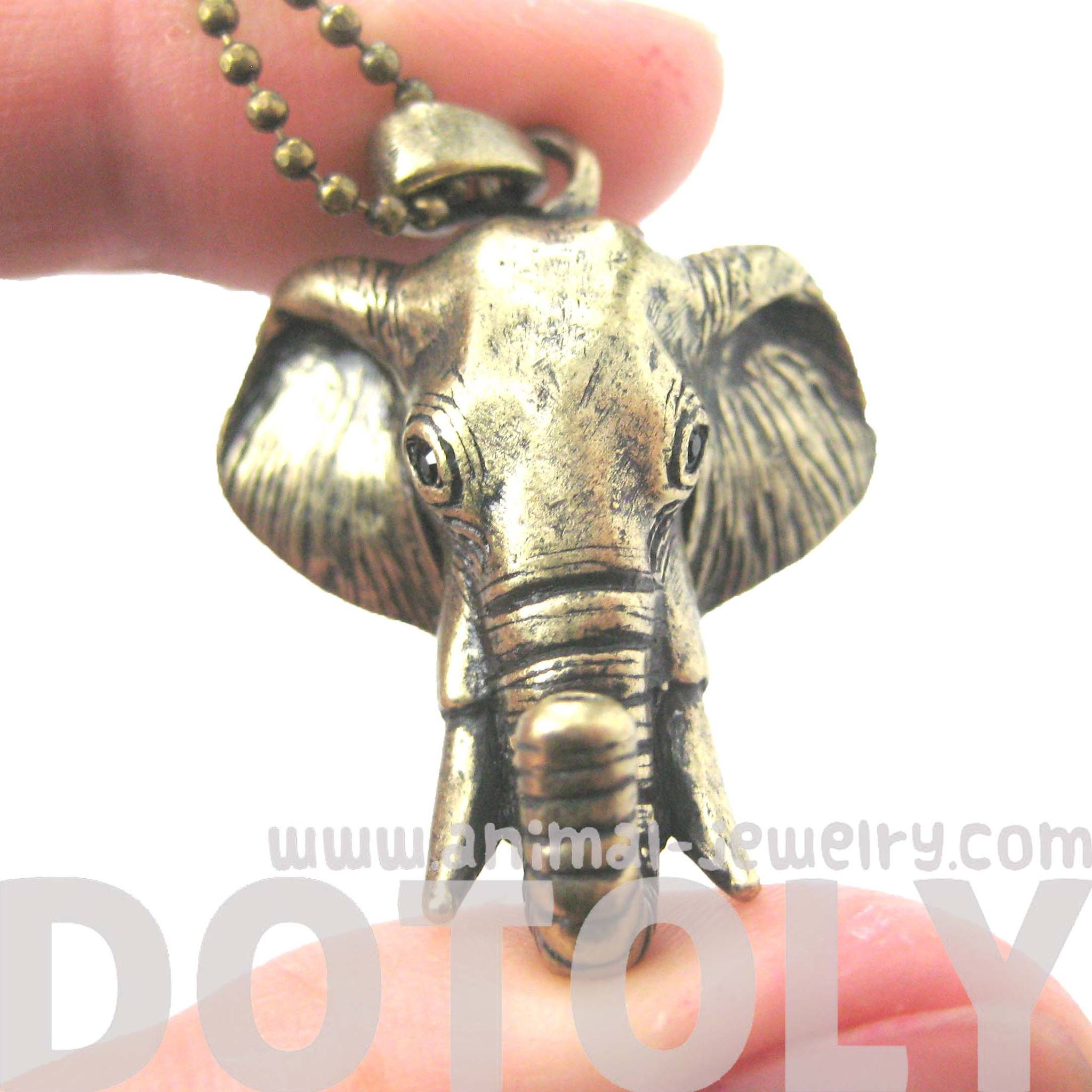3D Realistic Elephant Head Animal Pendant Necklace in Brass | DOTOLY