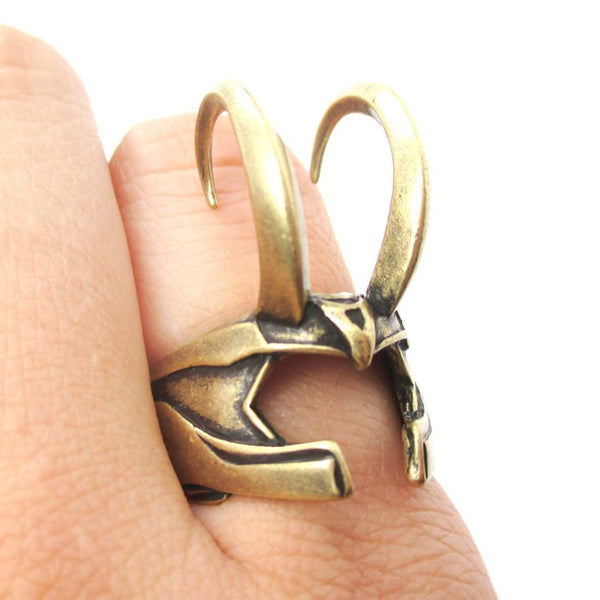 3D Realistic Loki Helmet Shaped Adjustable Ring in Brass