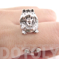 3D Pomeranian Puppy Dog Shaped Animal Ring in Silver