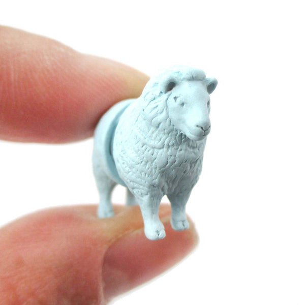 Realistic Sheep Shaped Front Back Stud Earrings in Blue