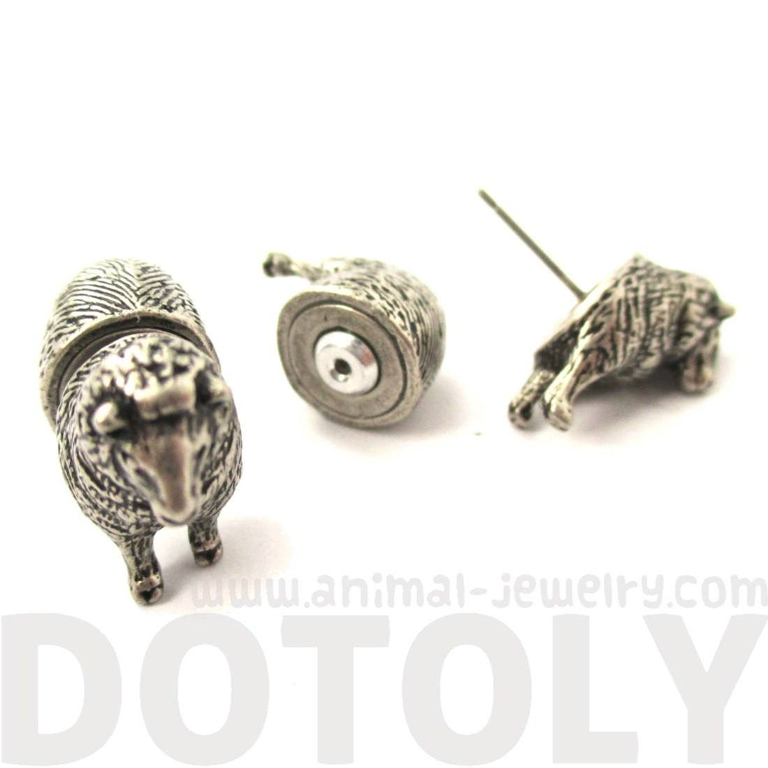 Realistic Sheep Shaped Front and Back Earrings in Silver