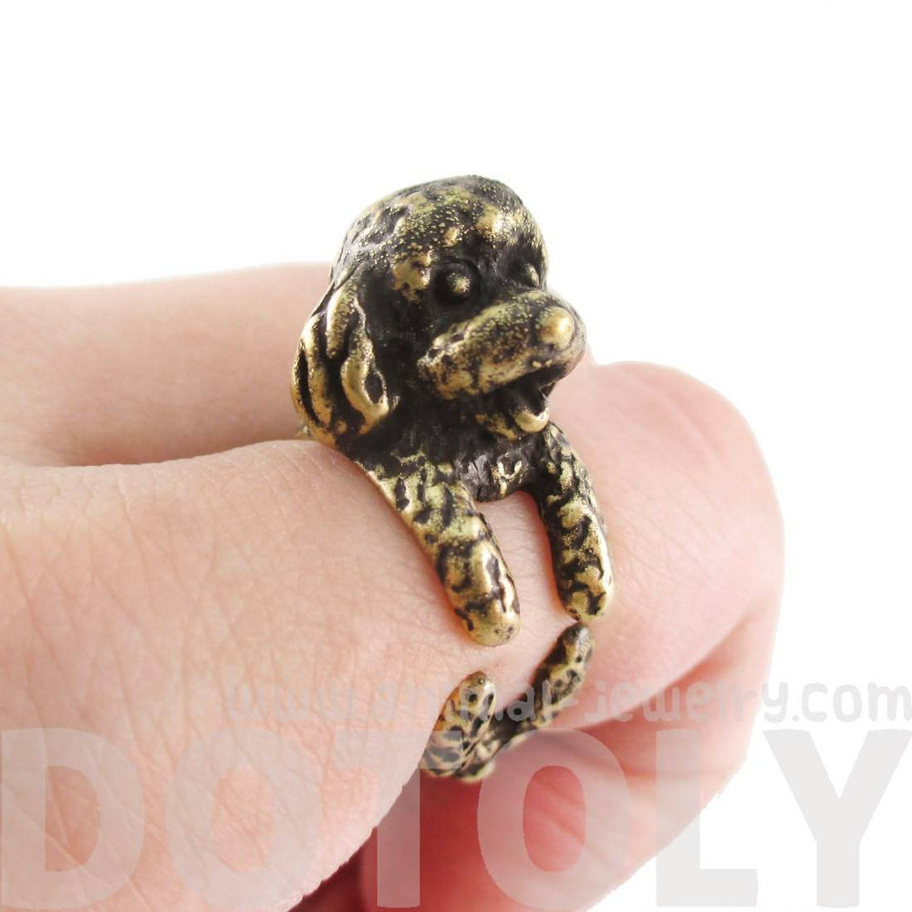 3D Toy Poodle Puppy Dog Shaped Animal Ring in Brass