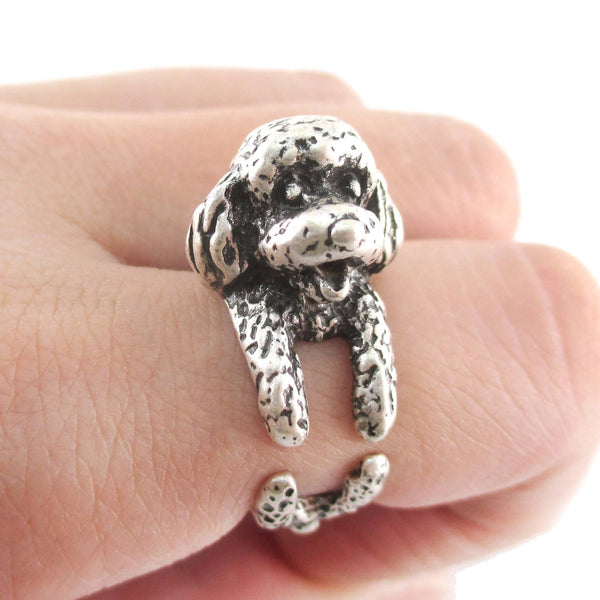 3D Toy Poodle Puppy Dog Shaped Animal Ring in Silver