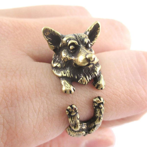 3D Realistic Welsh Corgi Puppy Dog Shaped Animal Wrap Ring in Brass | US Sizes 6 to 9 | DOTOLY