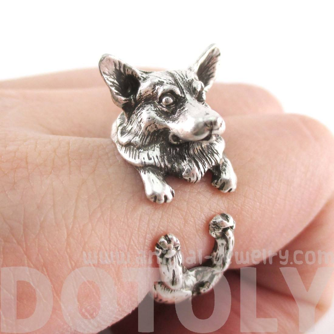 Welsh Corgi Puppy Dog Shaped Animal Wrap Ring in Silver