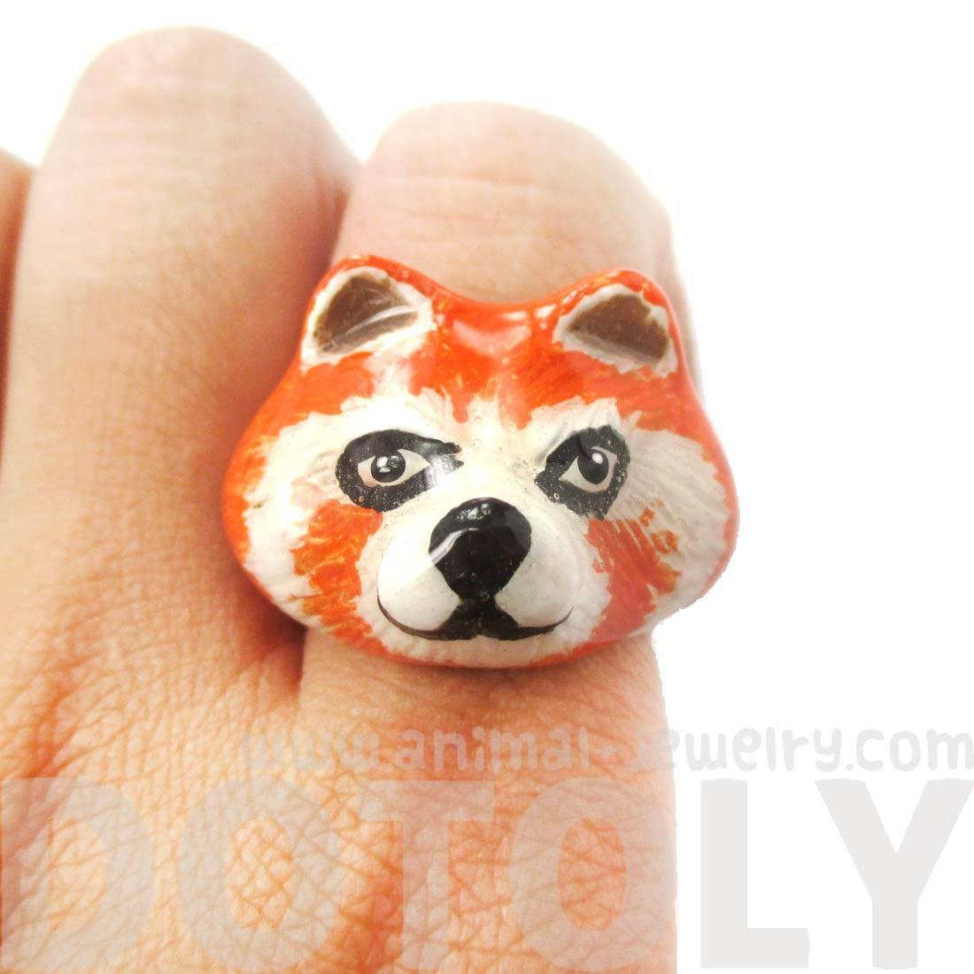 3D Red Panda Raccoon Shaped Enamel Animal Ring in US Size 6 and 7