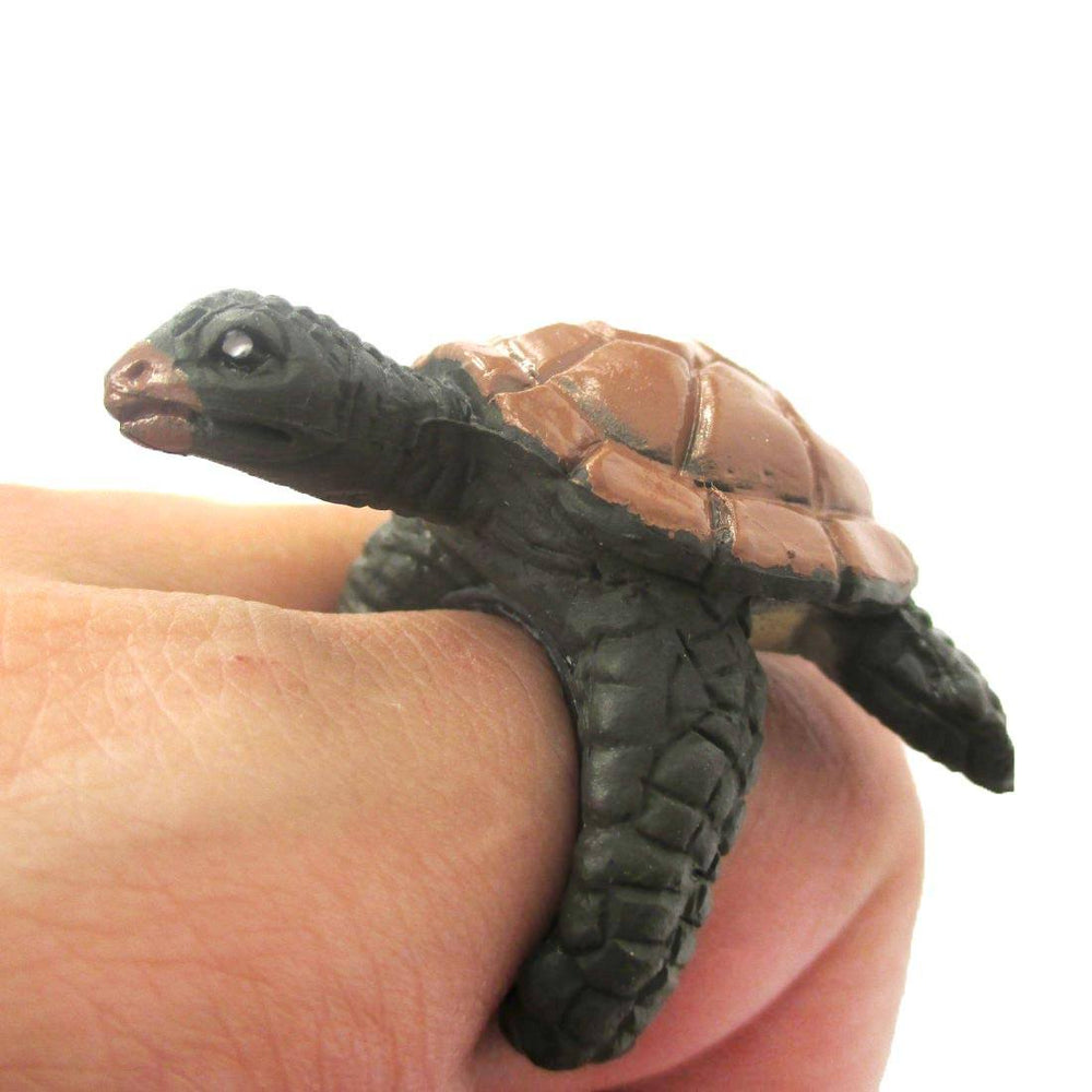 3D Sea Turtle Figurine Shaped Animal Wrap Ring for Kids | Size 3 to 5