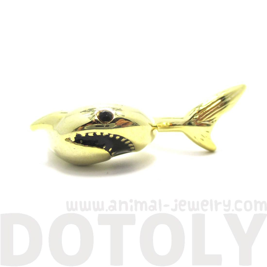 3D Shark Shaped Sea Animal Wrap Around Ring in Gold