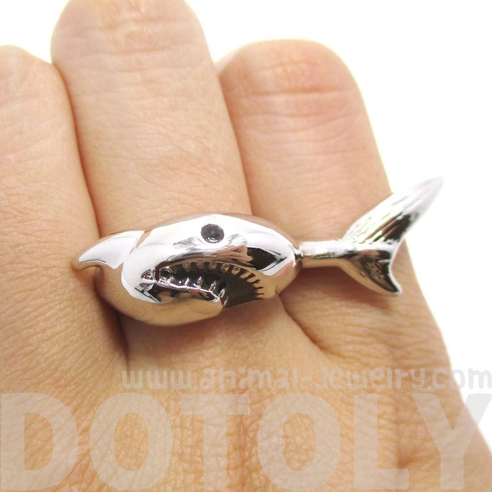 3D Shark Shaped Sea Animal Wrap Around Ring in Silver