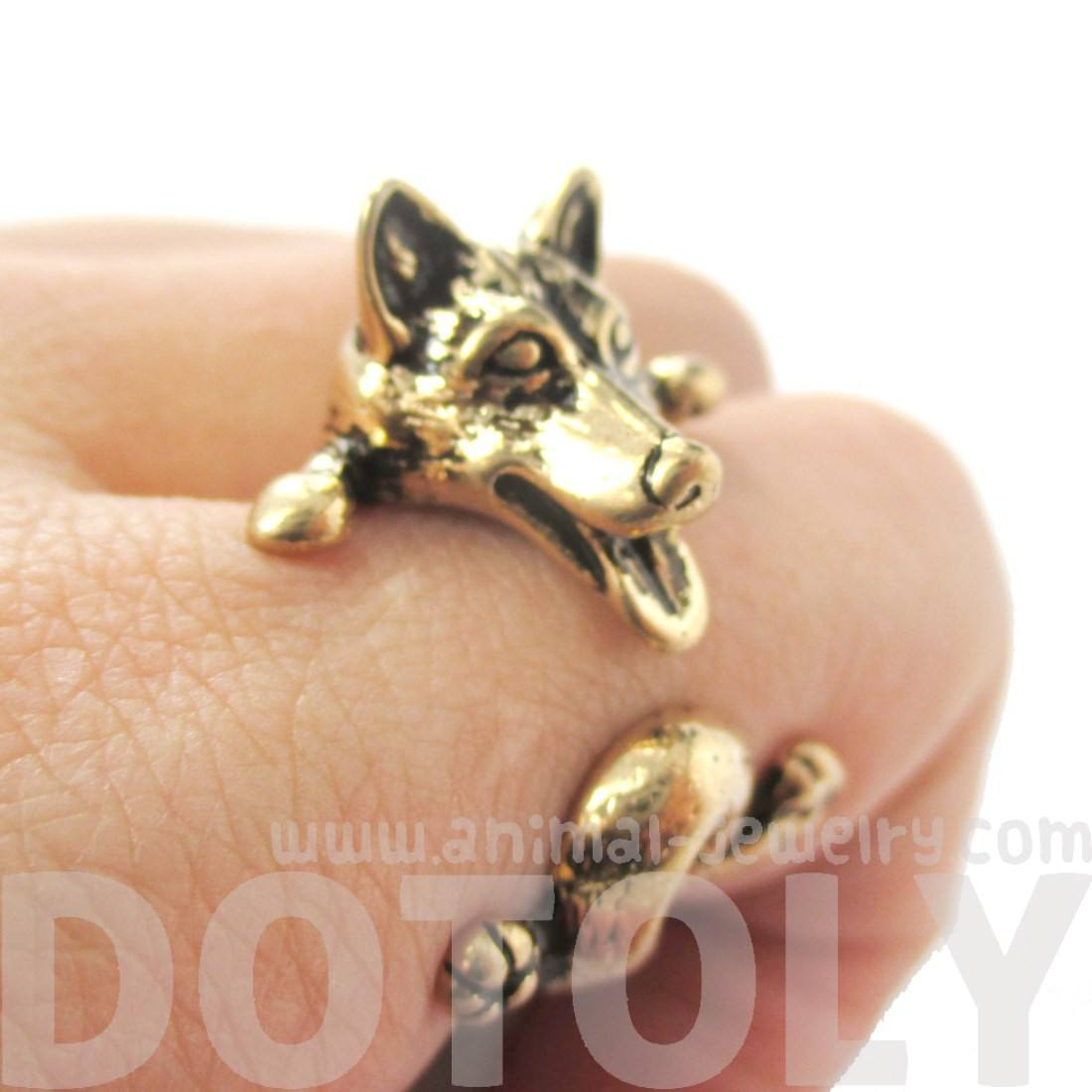 Siberian Husky Dog Shaped Animal Wrap Ring in Shiny Gold