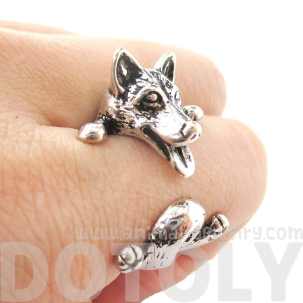 Siberian Husky Dog Shaped Animal Wrap Ring in Shiny Silver
