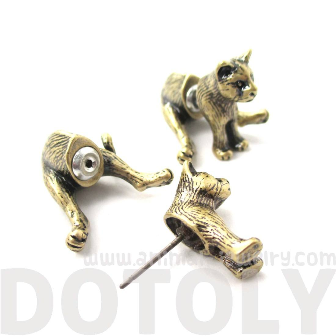 3D Kitty Cat Sitting Shaped Front Back Earrings in Brass