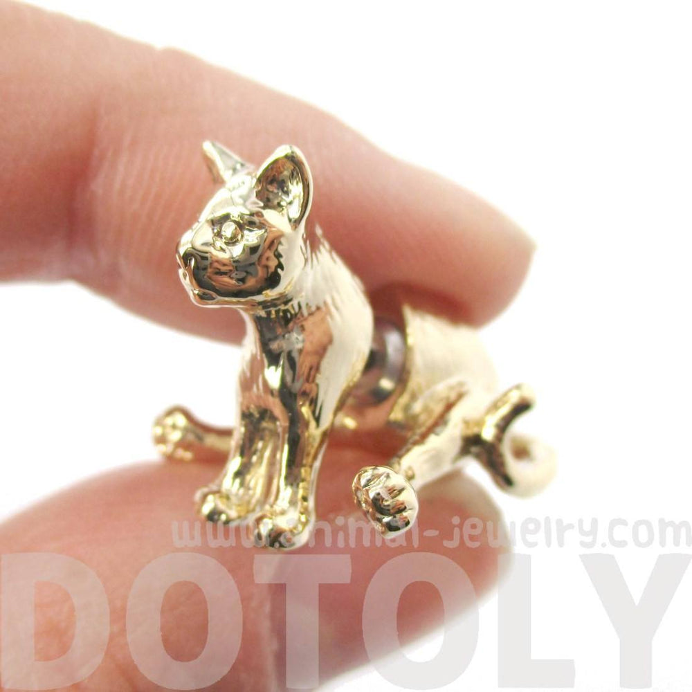 3D Kitty Cat Sitting Front Back Earrings in Shiny Gold