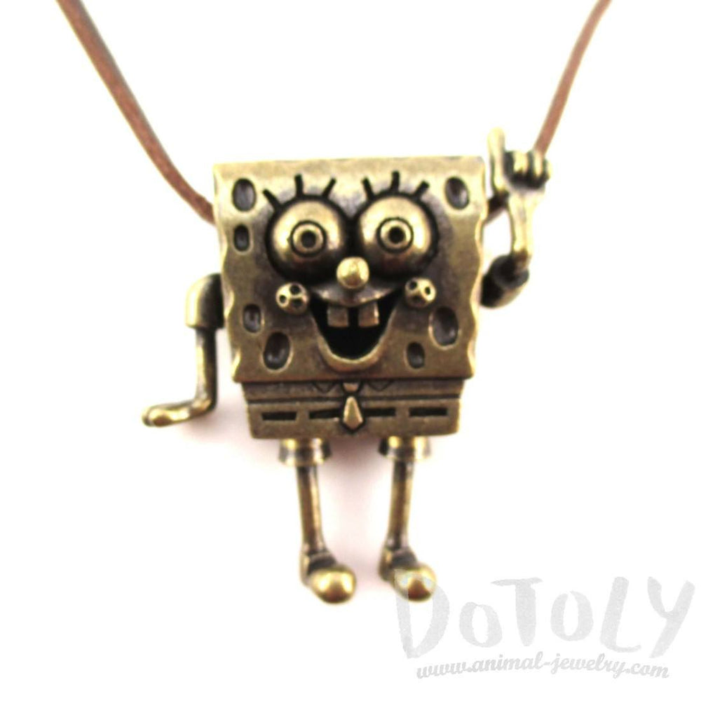3D SpongeBob SquarePants Shaped Nickelodeon Pendant Necklace in Brass