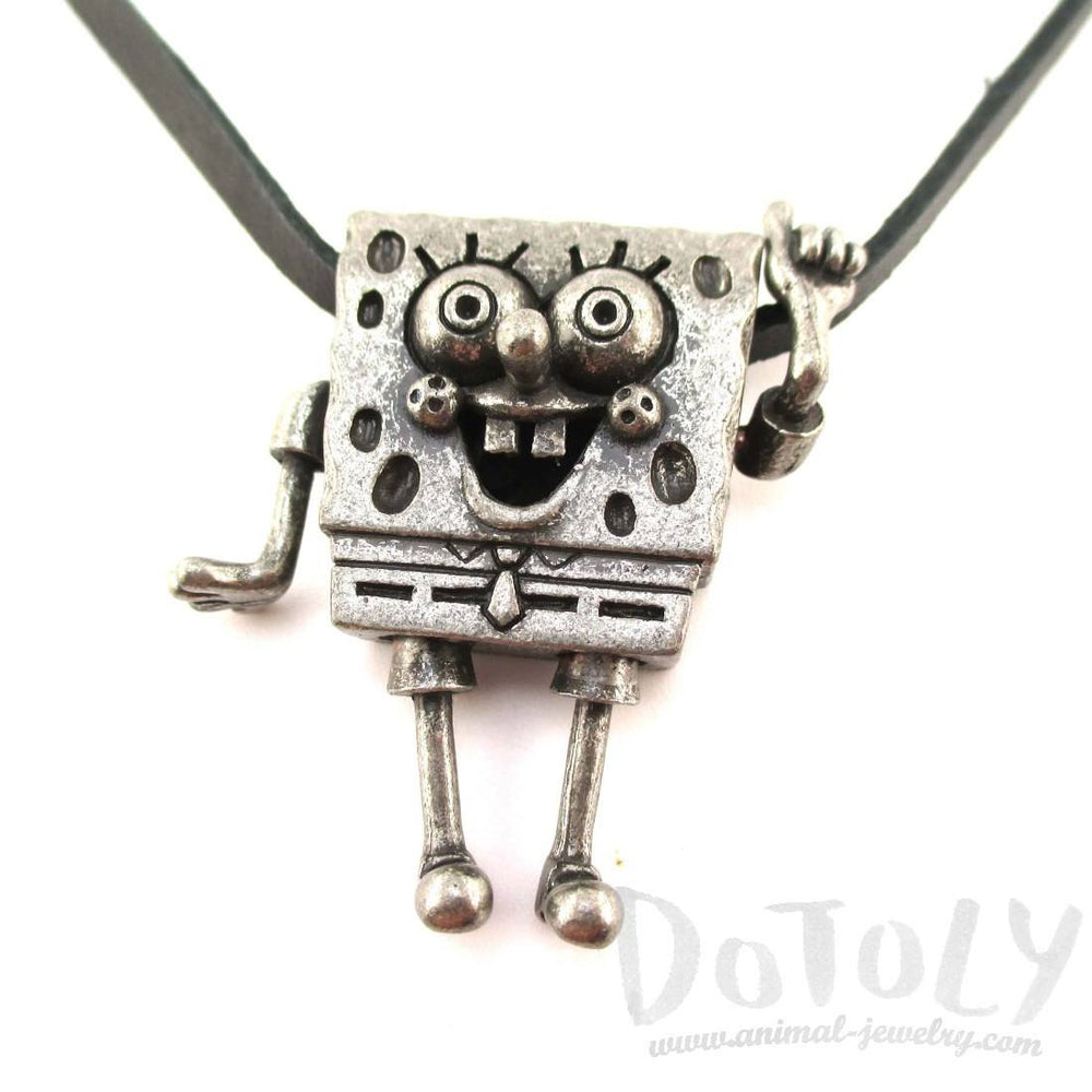 3D SpongeBob SquarePants Shaped Nickelodeon Pendant Necklace in Silver