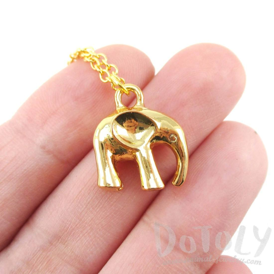3D Standing Elephant Shaped Pendant Necklace in Gold