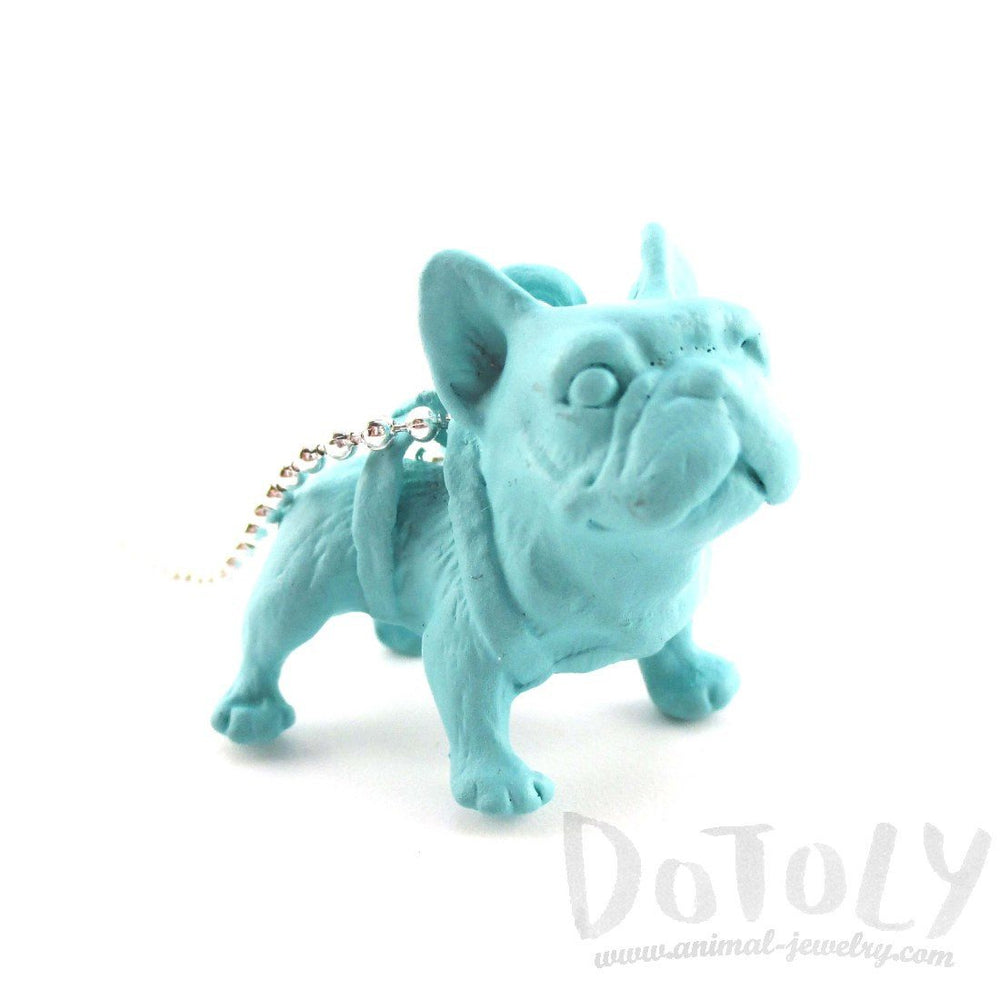 3D Standing French Bulldog Dog Shaped Pendant Necklace in Mint Blue | DOTOLY