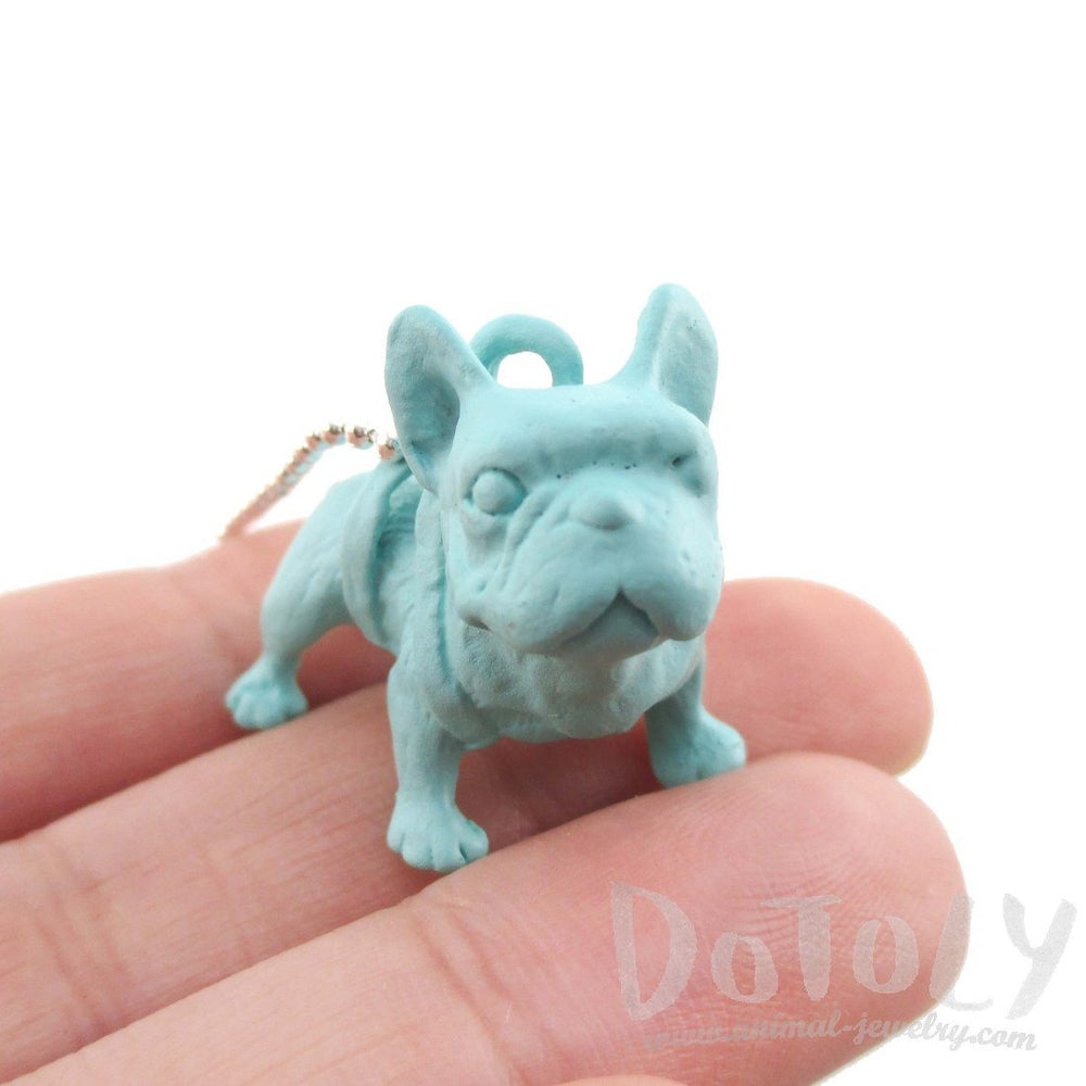 French Bulldog Dog Shaped Pendant Necklace in Mint Blue