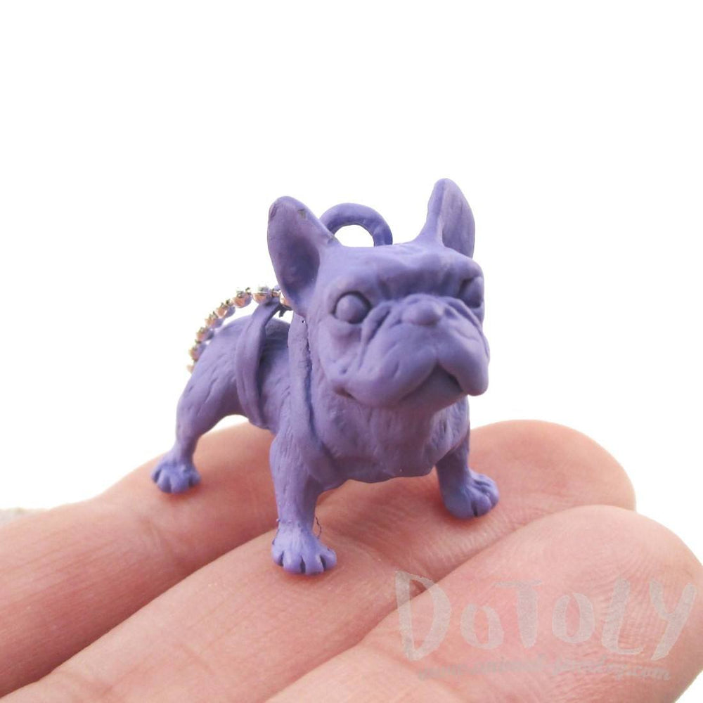 3D French Bulldog Dog Shaped Pendant Necklace in Purple