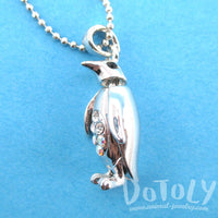 3D Standing Penguin Shaped Rhinestone Pendant Necklace