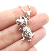 T-Rex Dinosaur Shaped Animal Pendant Necklace in Silver