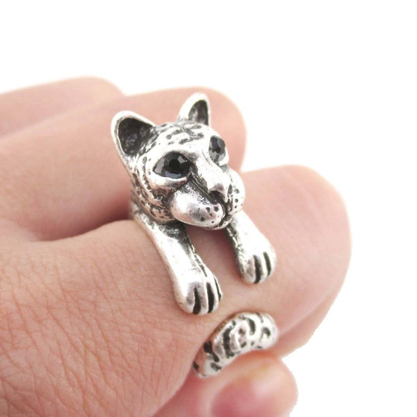 3D Tiger Wrapped Around Your Finger Shaped Ring in Silver | DOTOLY