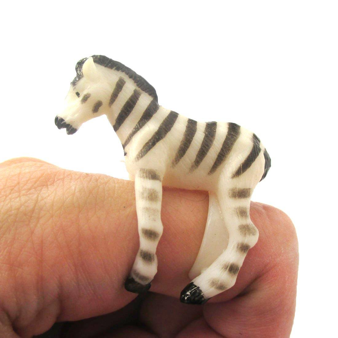3D Adjustable Zebra Horse Figurine Shaped Animal Wrap Ring for Kids