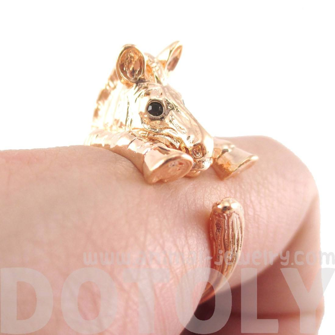 3D Zebra Shaped Animal Wrap Around Ring in Shiny Copper