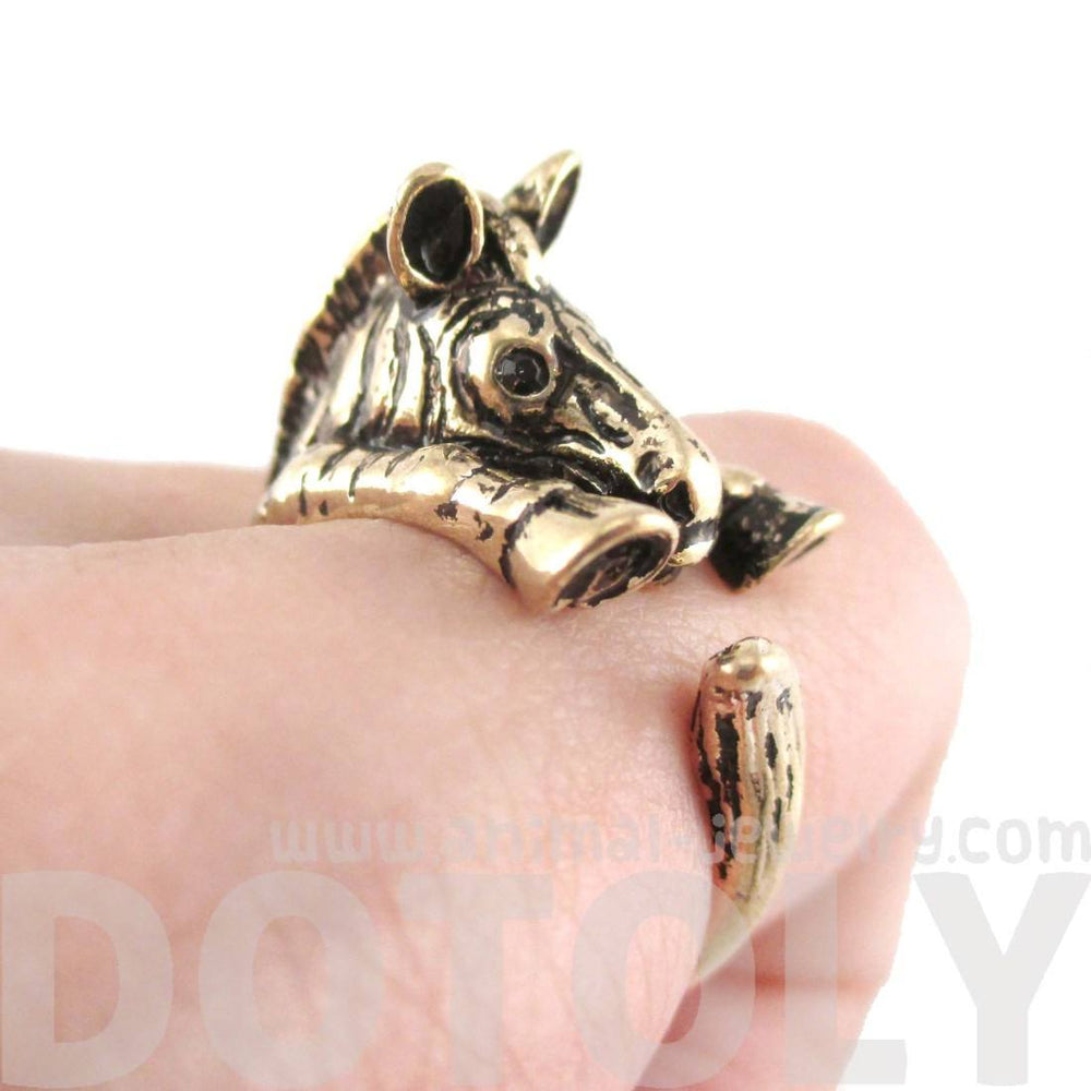 3D Zebra Shaped Animal Wrap Around Ring in Shiny Gold | US Sizes 4 to 9 | DOTOLY