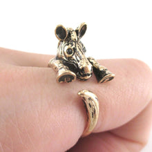 3D Zebra Shaped Animal Wrap Around Ring in Shiny Gold