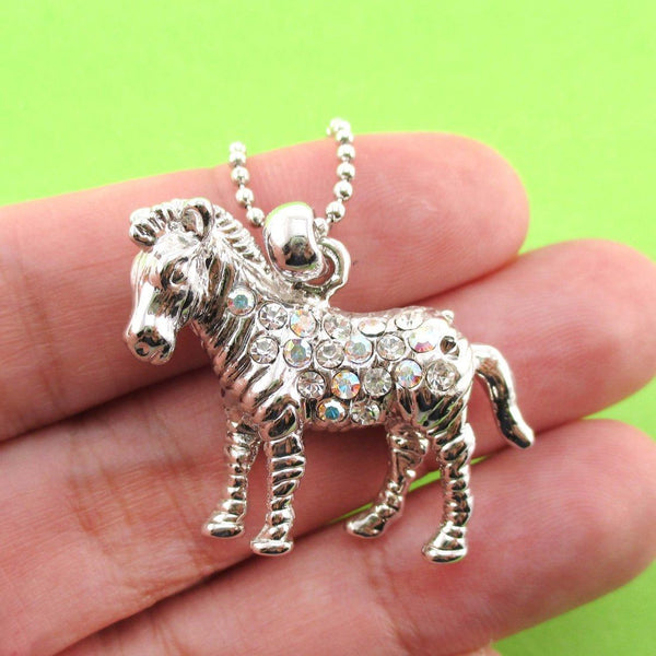 3D Zebra Shaped Rhinestone Pendant Necklace in Silver