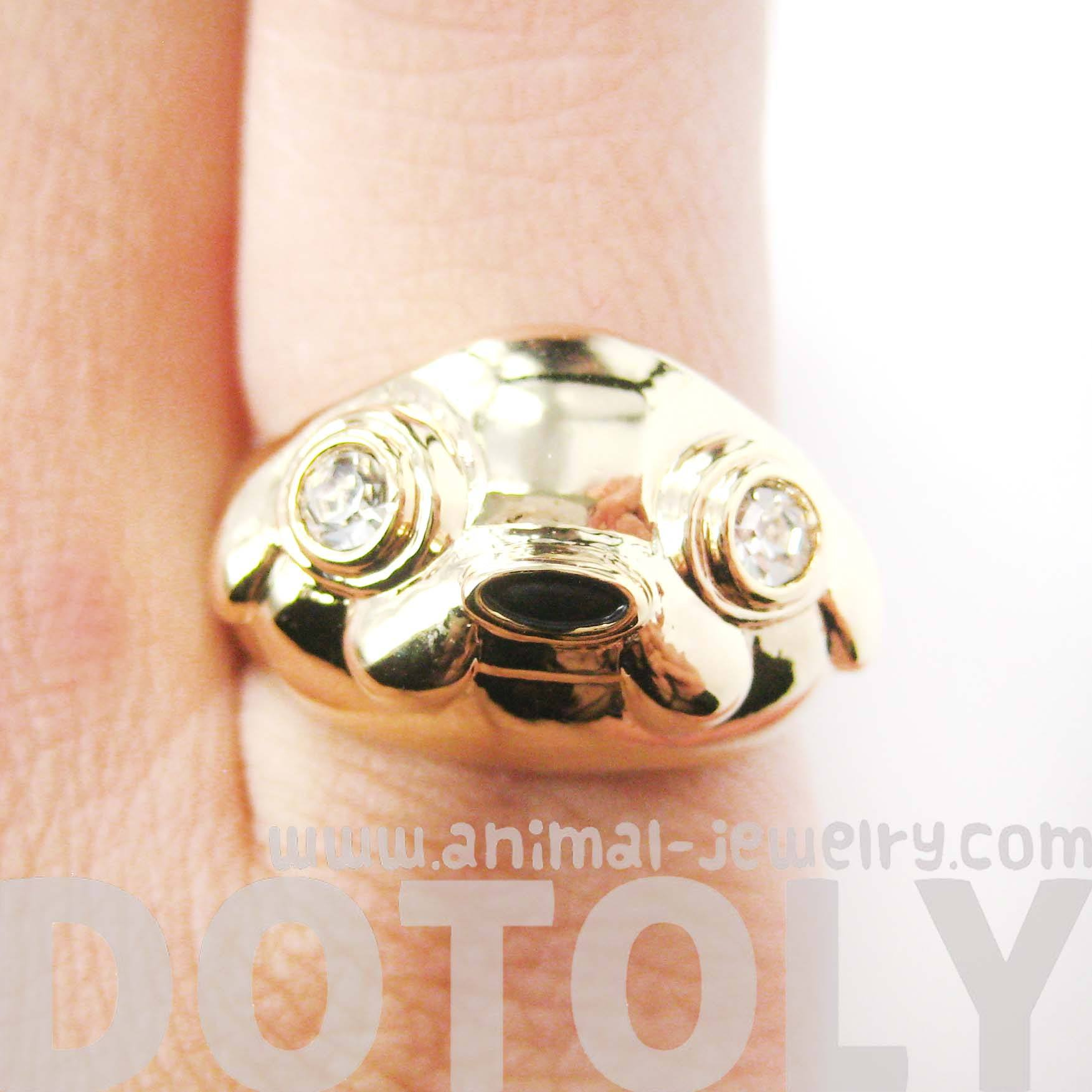 Adventure Time Jake The Dog Shaped Cartoon Animal Ring in Gold | DOTOLY