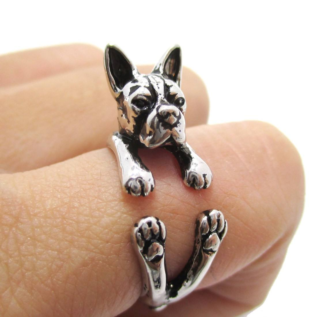 Boston Terrier Puppy Shaped Animal Ring in Shiny Silver