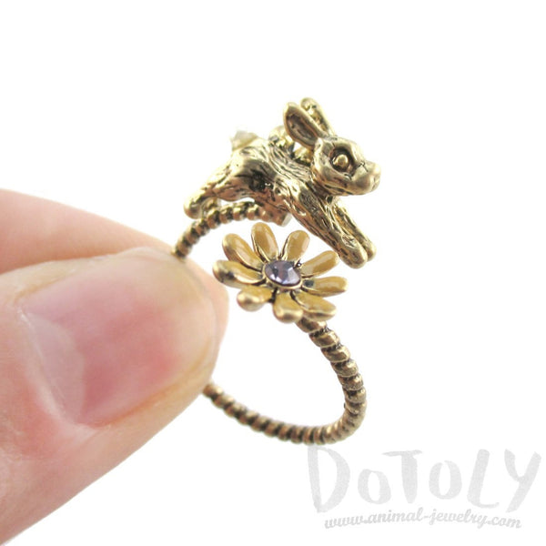 Bunny and Flower Wrap Around Adjustable Ring in Gold