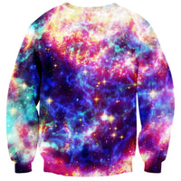 Colorful Universe Galaxy Space Kitty Graphic Print Crew Neck Sweater