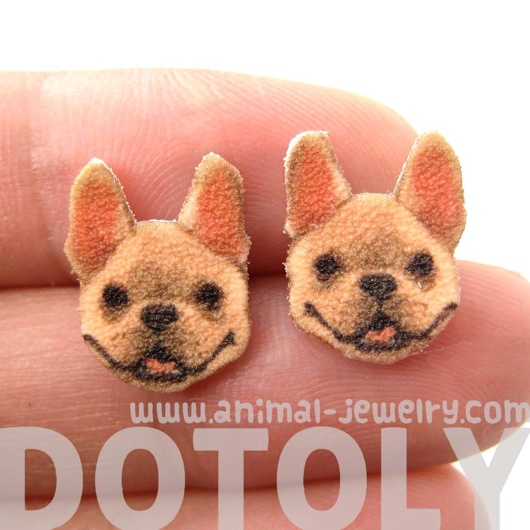 French Bulldog Puppy Animal Head Shaped Stud Earrings | Shrink Plastic