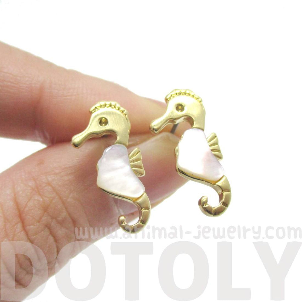 Seahorse Shaped Animal Themed Stud Earrings in Gold