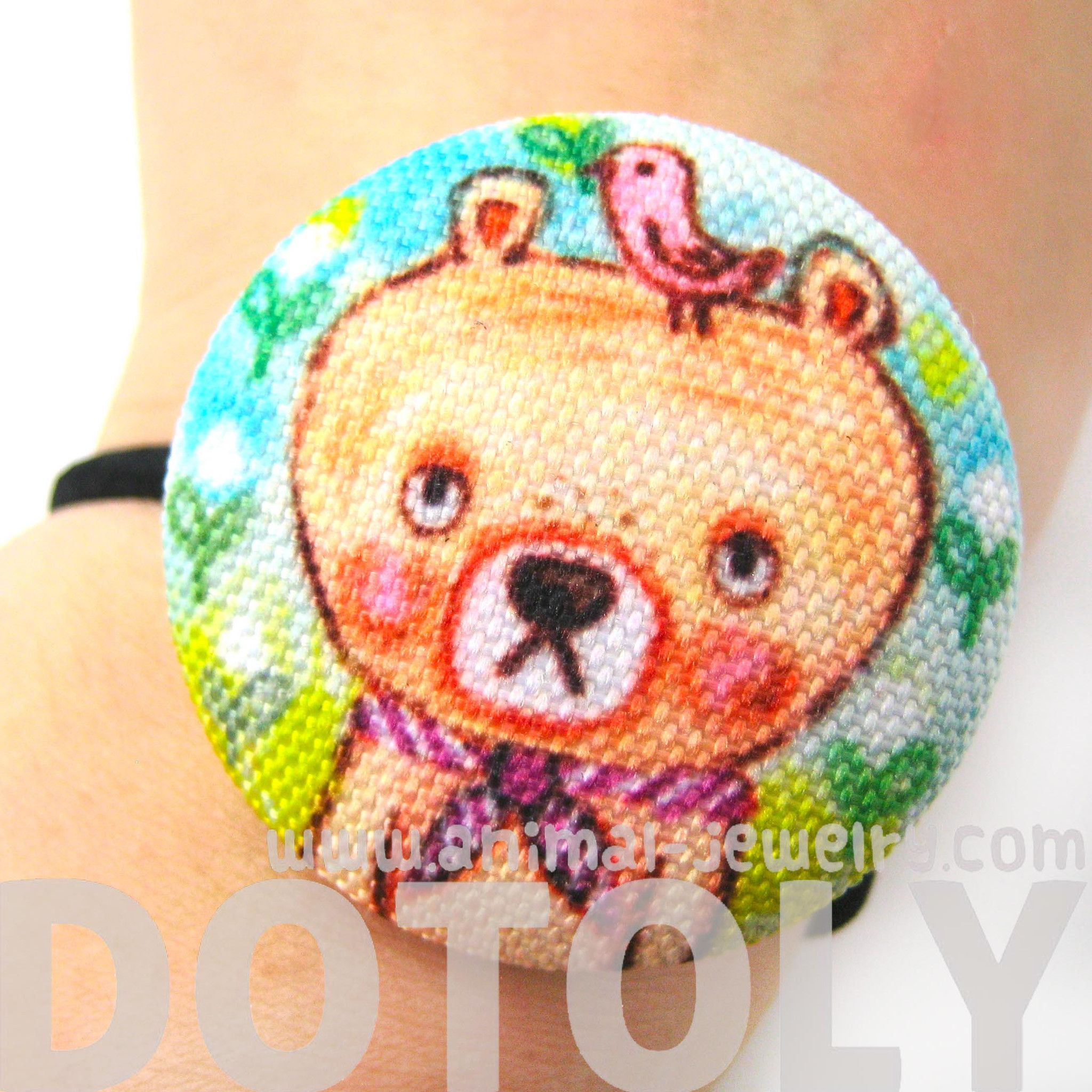 hand-drawn-teddy-bear-animal-themed-button-hair-tie-pony-tail-holder