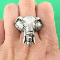 Adjustable Elephant Animal Realistic Ring For Men and Women in Silver
