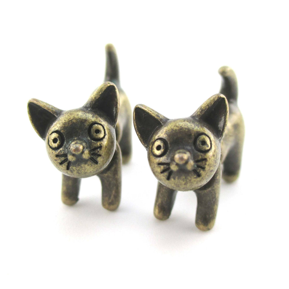 Adorable Kitty Cat Animal Plug Earrings in Bronze