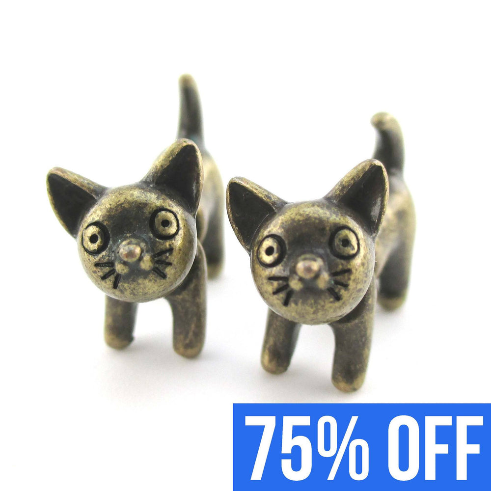 fake-gauge-earrings-adorable-kitty-cat-animal-plug-earrings-in-bronze