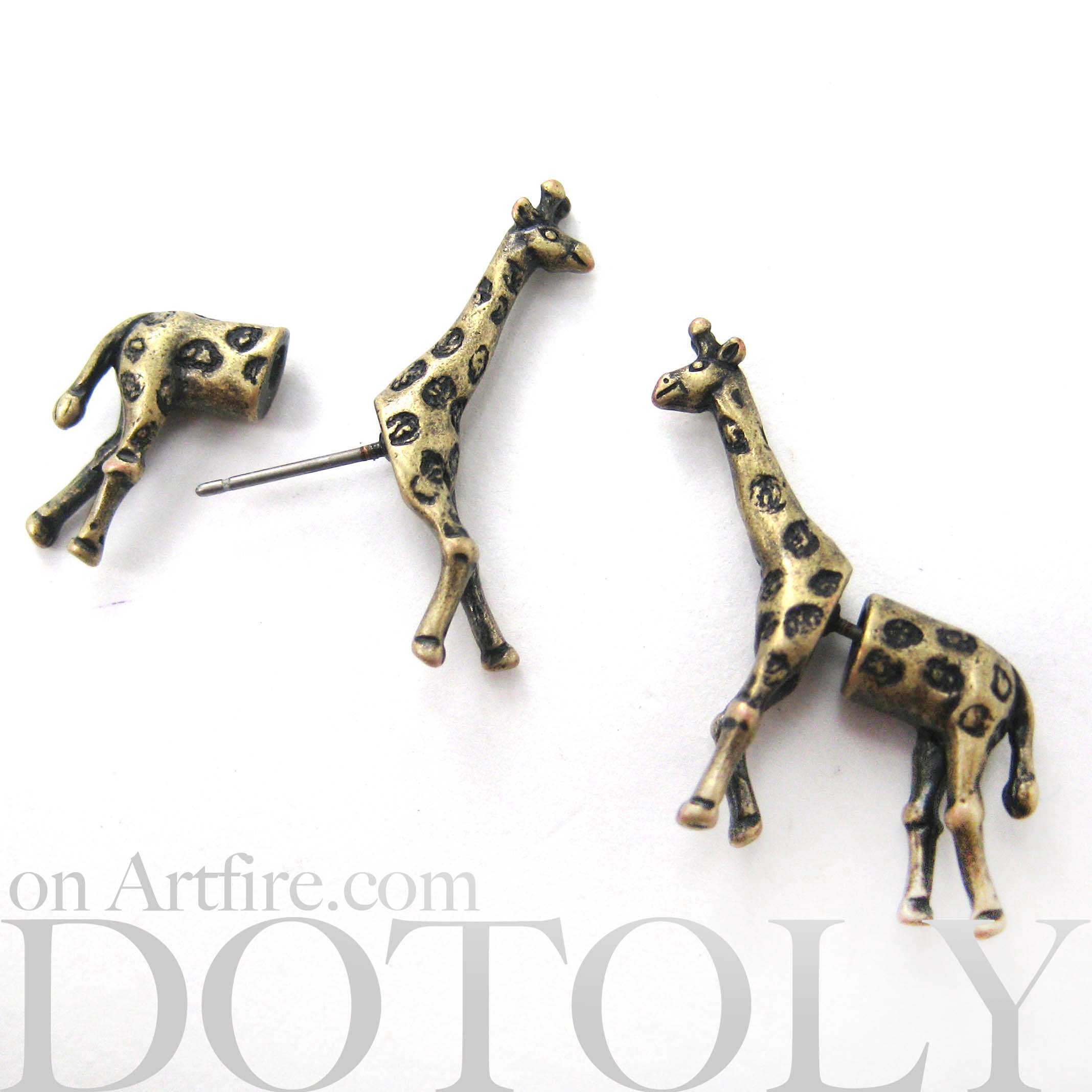 giraffe-animal-fake-gauge-earrings-bronze-dotoly