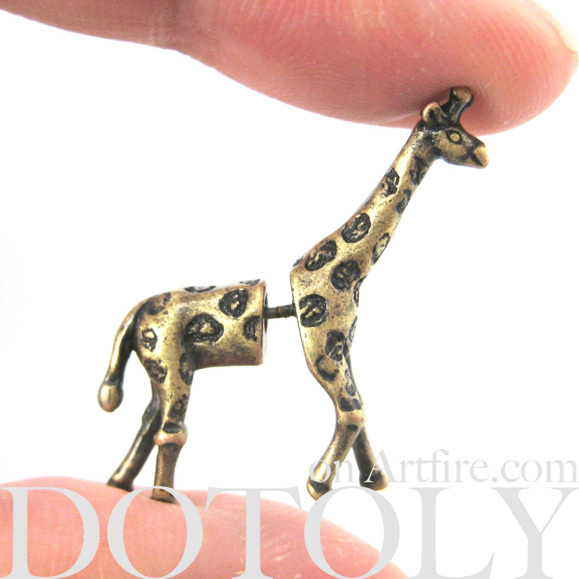 giraffe-animal-fake-gauge-earrings-bronze