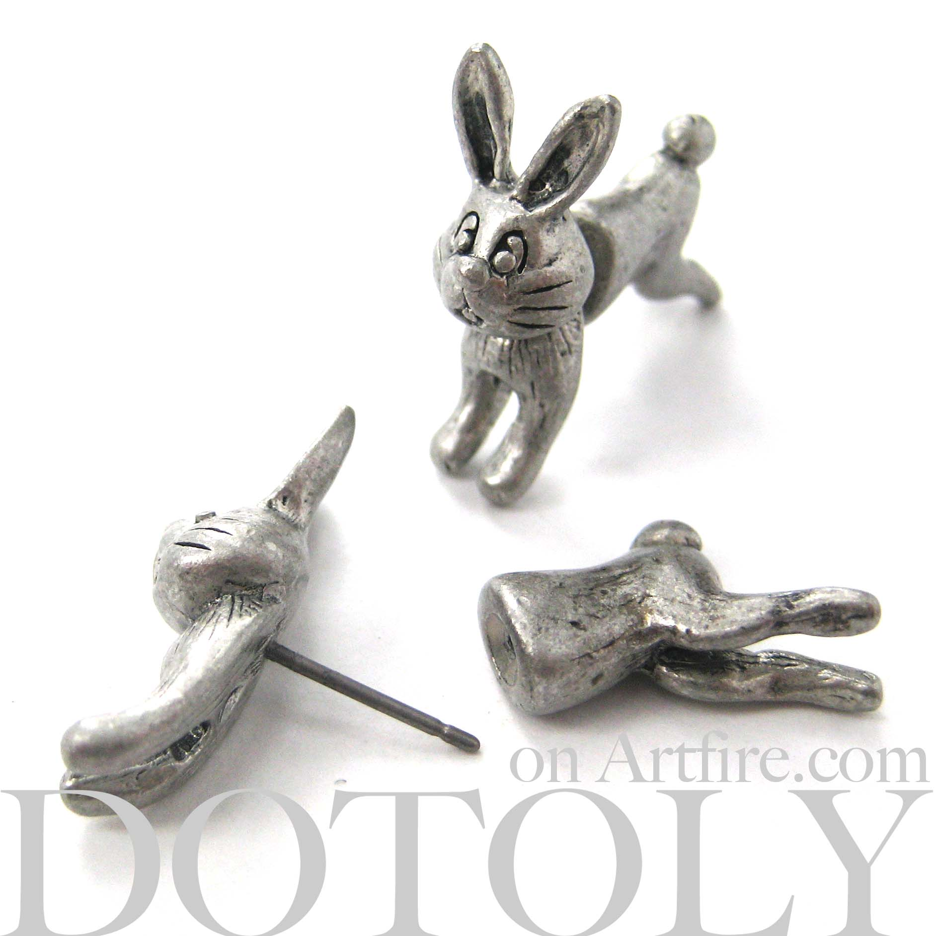 fake-gauge-earrings-bunny-rabbit-earrings-silver-animal-jewelry