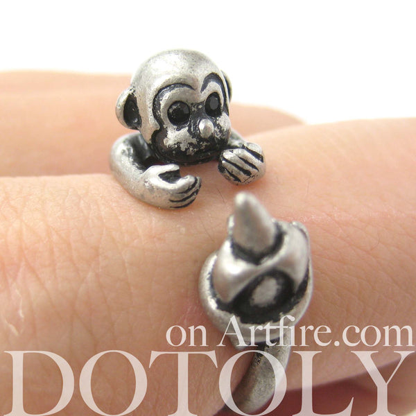 Monkey Animal Wrap Ring with Banana in Silver - Sizes 4 to 9 Available | DOTOLY