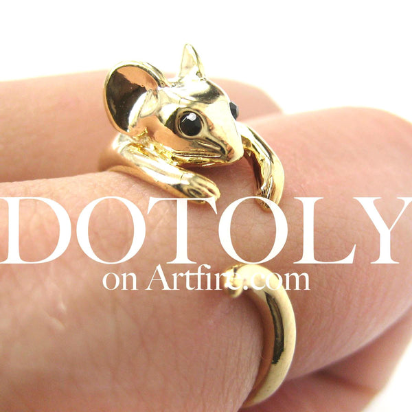 Mouse Animal Wrap Around Ring in Shiny Gold - Sizes 4 to 9 Available | DOTOLY