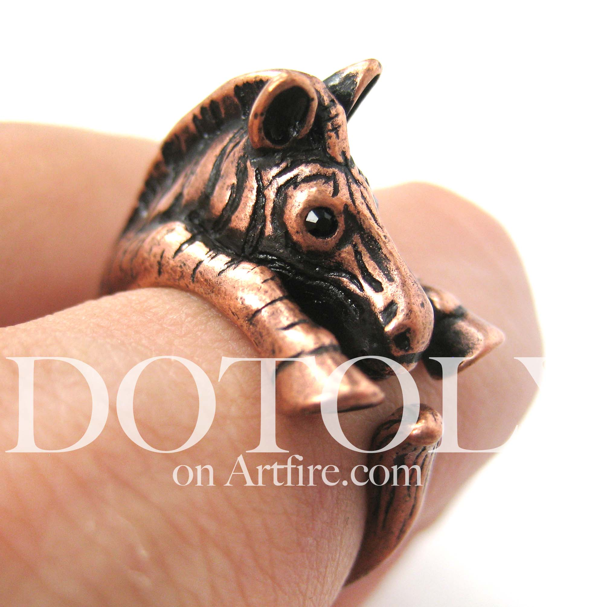 zebra-horse-animal-wrap-ring-in-copper