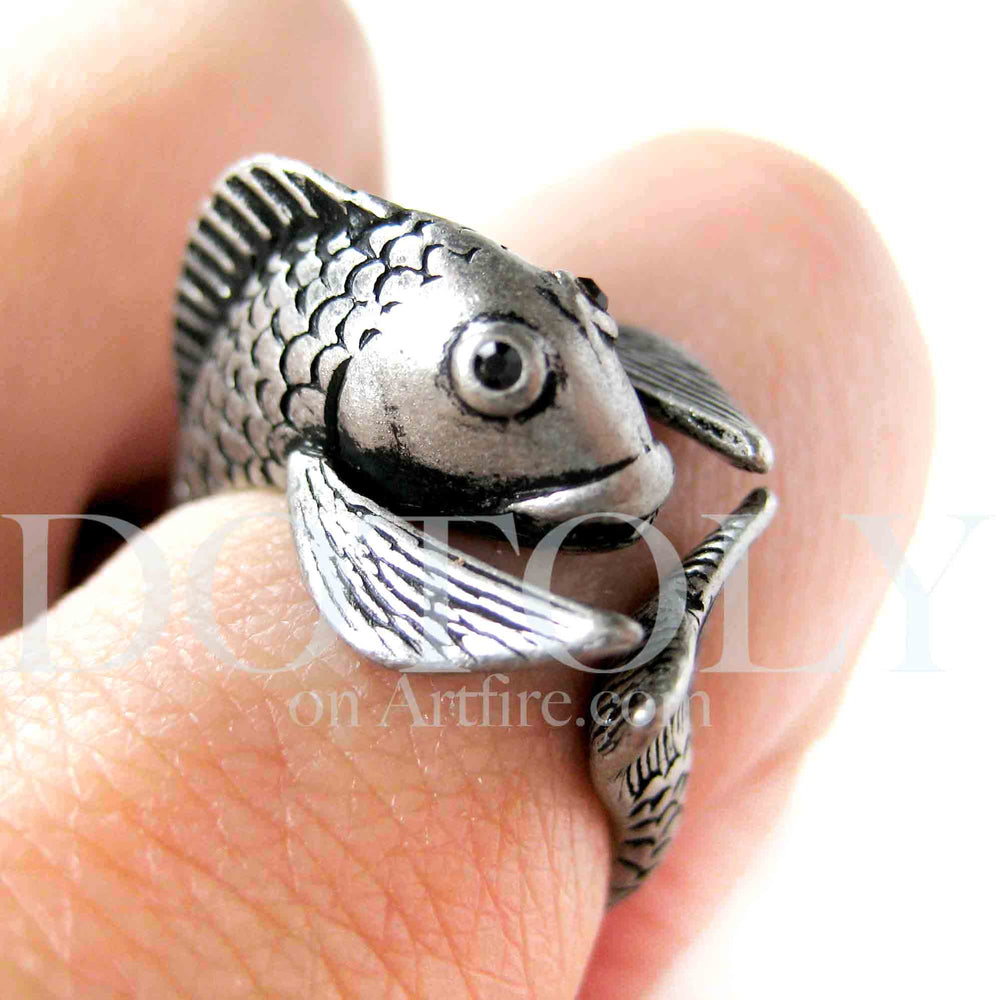 Fish Koi Sea Animal Wrap Around Ring in Silver - Sizes 4 to 9 Available | DOTOLY
