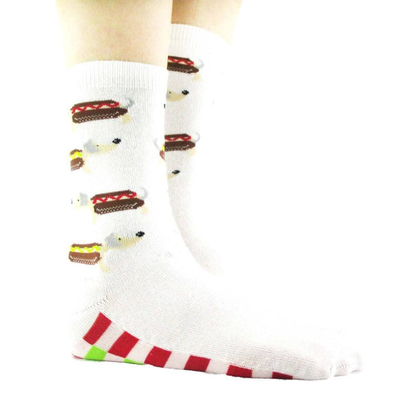 Adorable Hot Dog Dachshund Print Cotton Socks for Women in White | DOTOLY